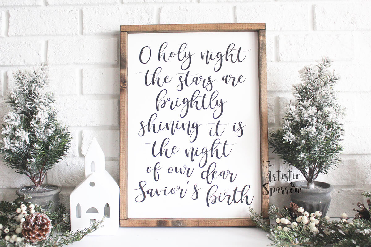 O Holy Night Hand Painted Sign