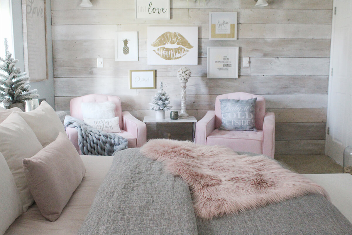 A Feminine Rustic Retreat with Shiplap Accent Wall