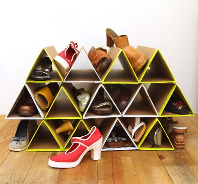 Fun and Funky Triangular Shoe Cubbies