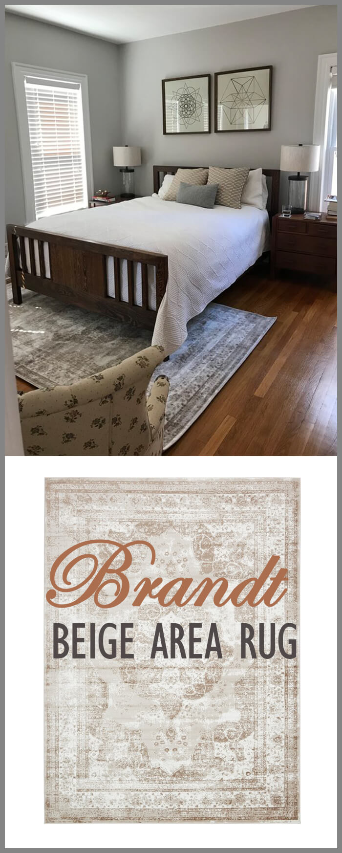 Persian-Inspired Distressed Beige Area Rug