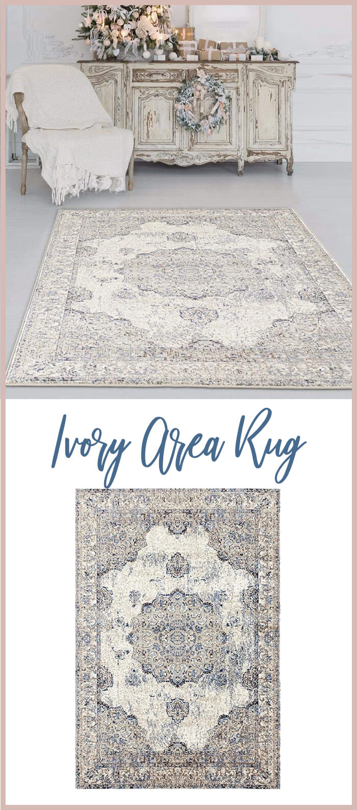 Oriental Distressed Ivory Area Rug