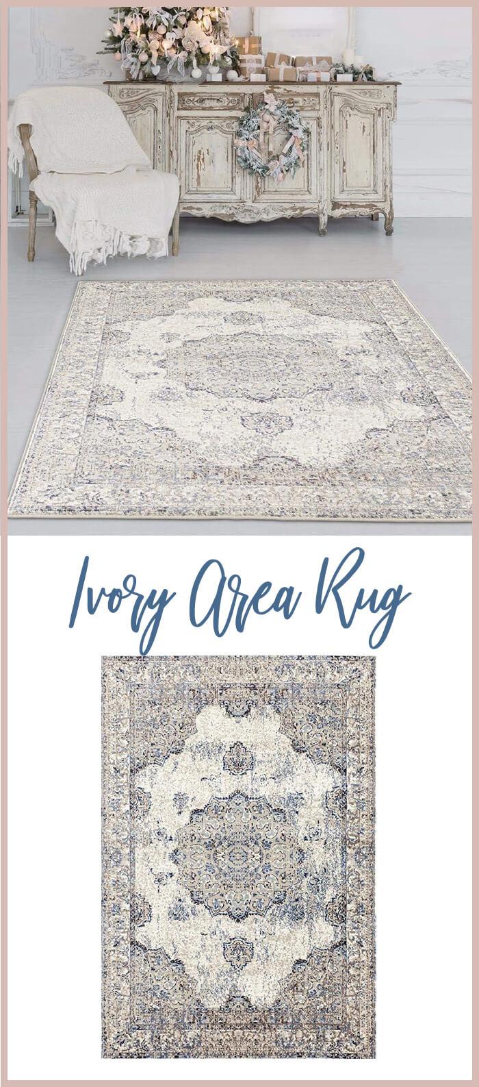 Oriental Distressed Ivory Area Rug