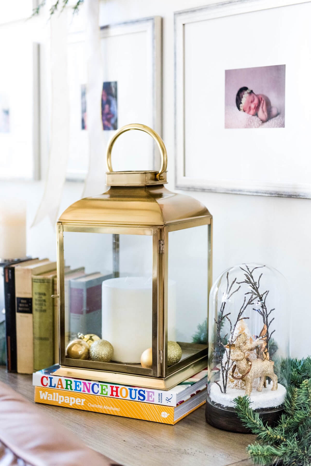 Classy Gold Lantern and Snow Globe Display