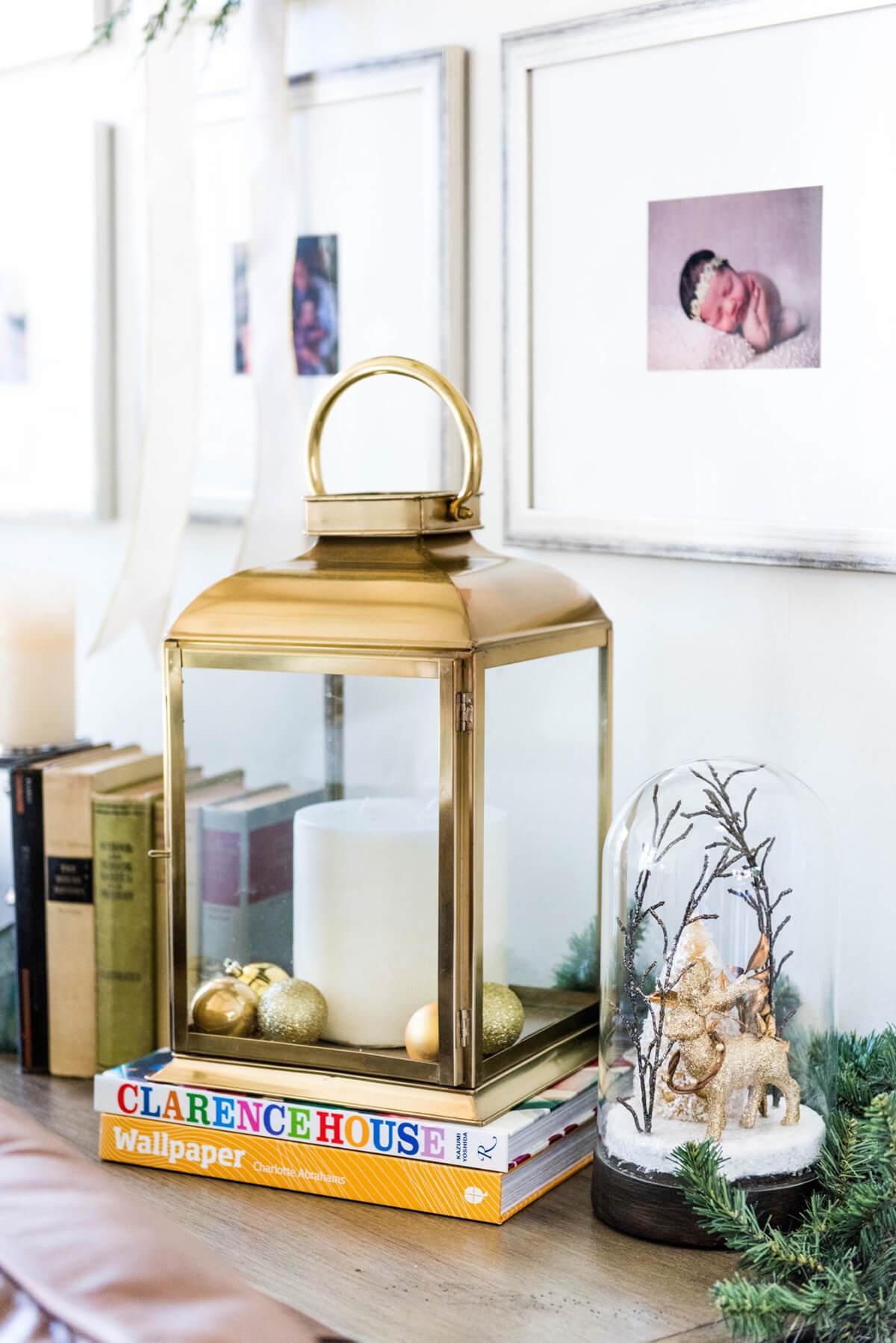 Classy Gold Lantern and Snow Globe Display