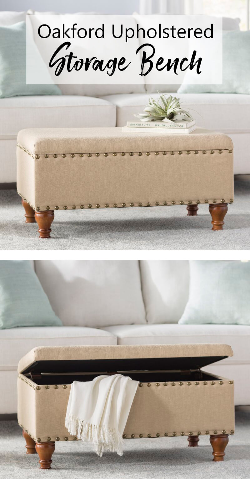 Classic Style Upholstered Storage Bench