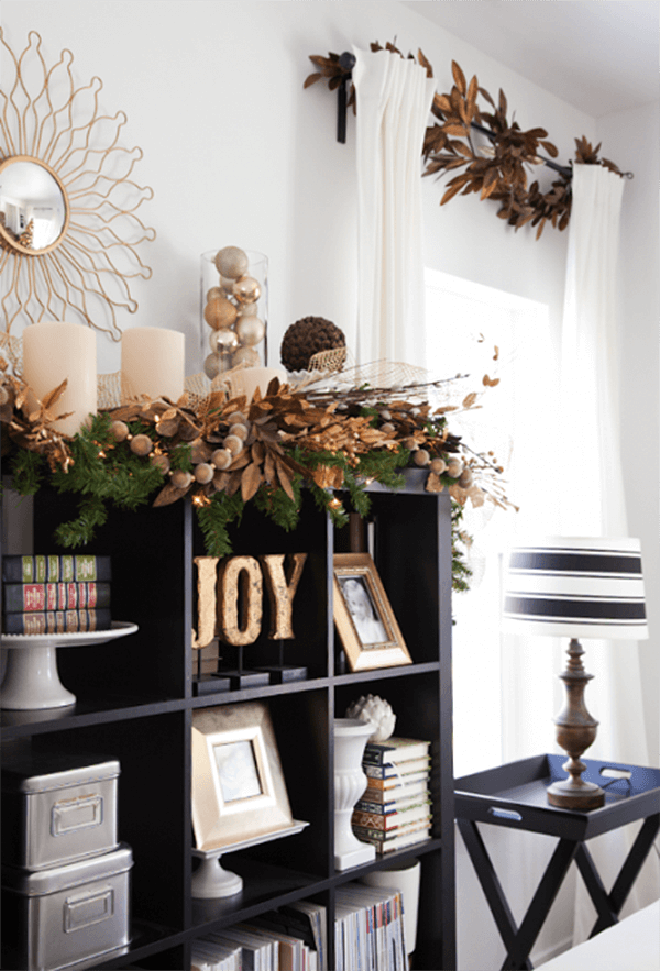 Holiday Cubby and Wall Gold Garland Idea