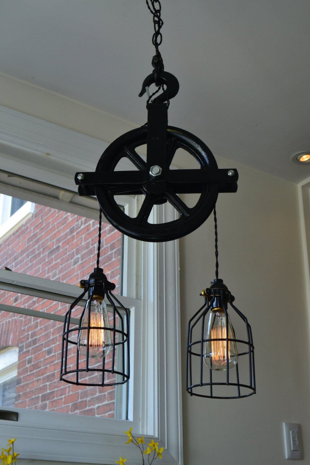 Antique Cast Iron Pulley Pendant Light