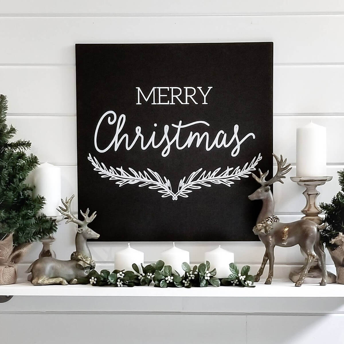 Merry Christmas and Happy New Year Rustic Sign