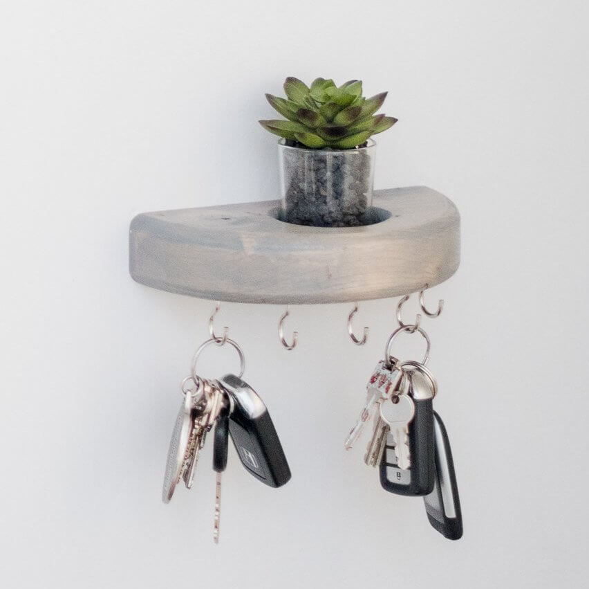 Modern Rustic Half Round Key Holder