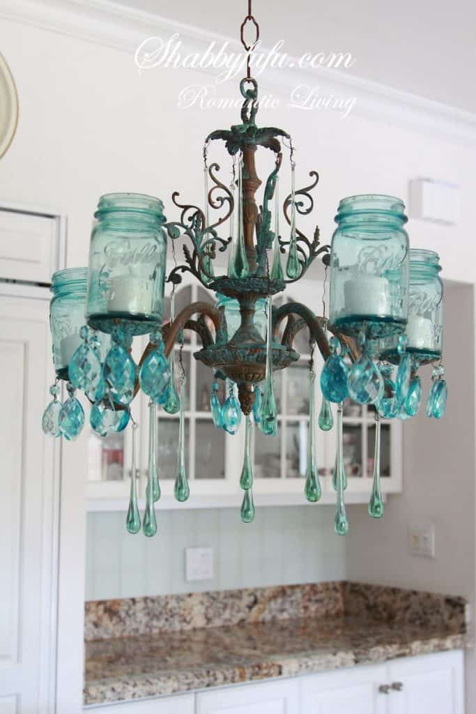 Tiffany Blue Mason Jar Chandelier