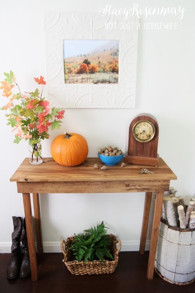 Harvest Themed Entryway Table with Pumpkin