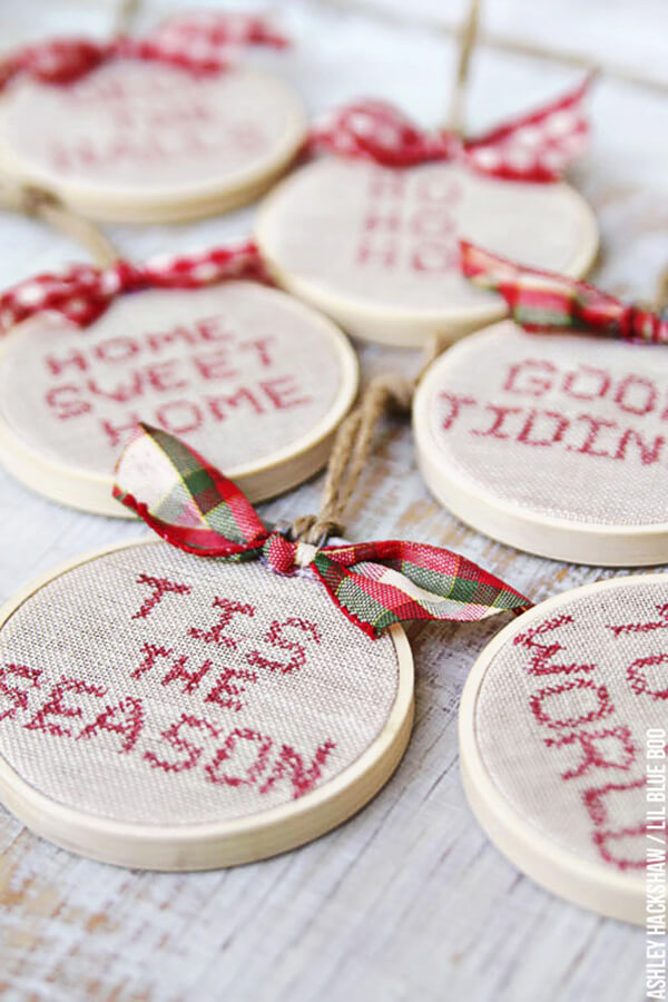 Holiday Hand Embroidered String Ornament