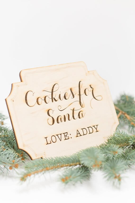 Engraved Personalized Cookies for Santa Sign