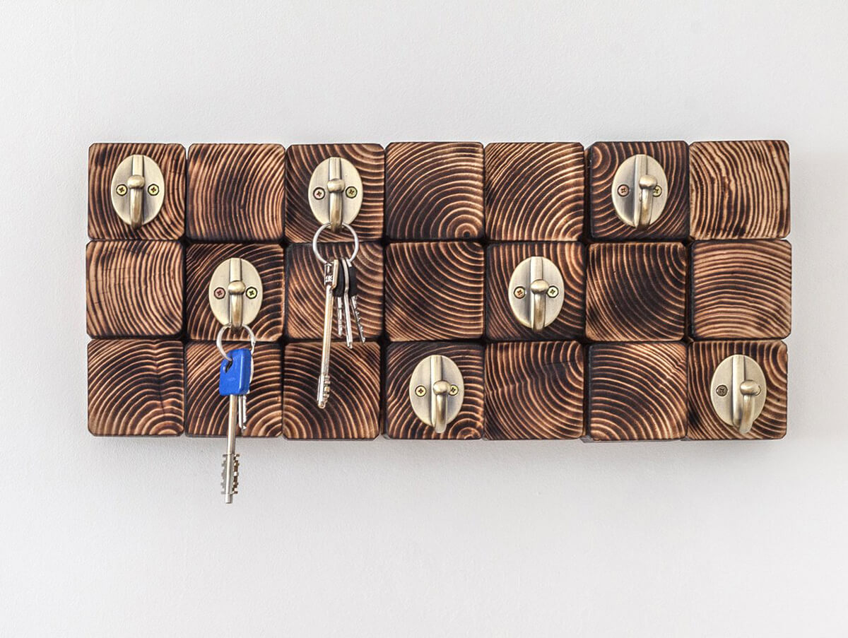 Wooden Wall Art and Key Rack