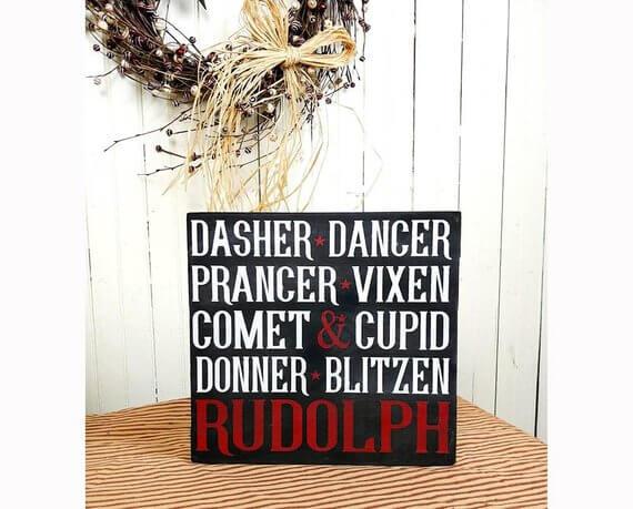Reindeer Names Rustic Vertical Wood Sign