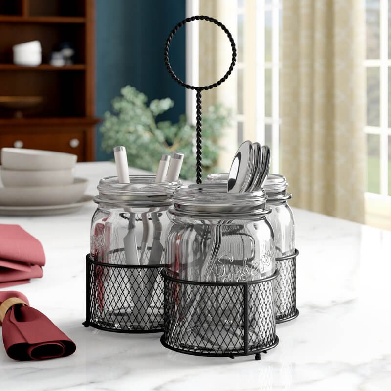 4-Piece Caddy with Glass Mason Jars