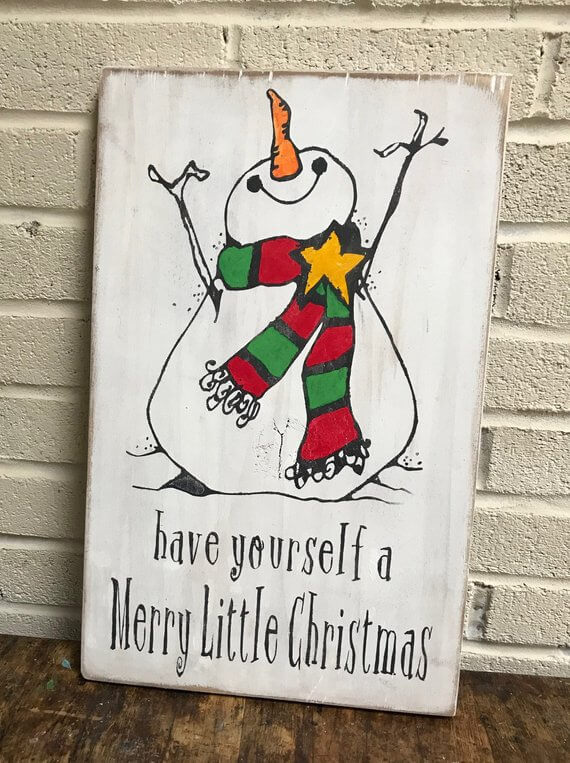 Hand Painted Wooden Christmas Snowman Sign