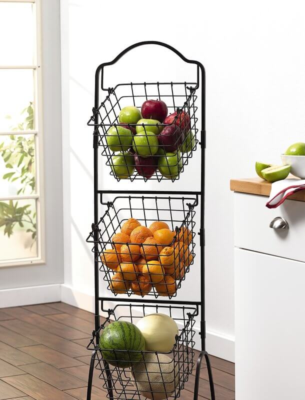 3-Tier Metal Basket for storing Fruits and Vegetables