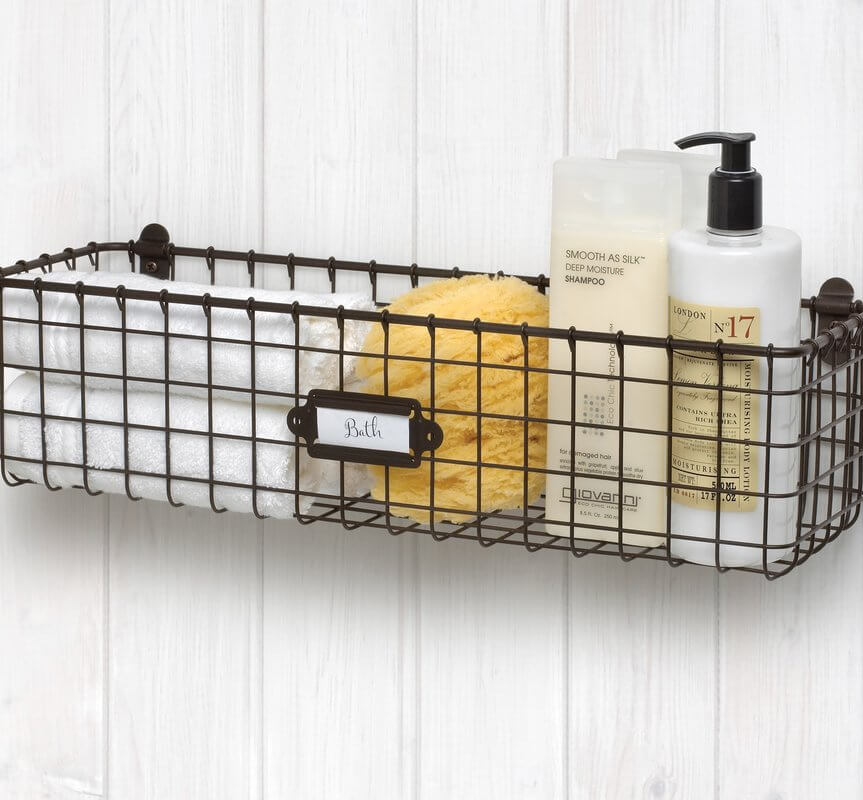 Vintage Wall Mount Basket Storage Bin