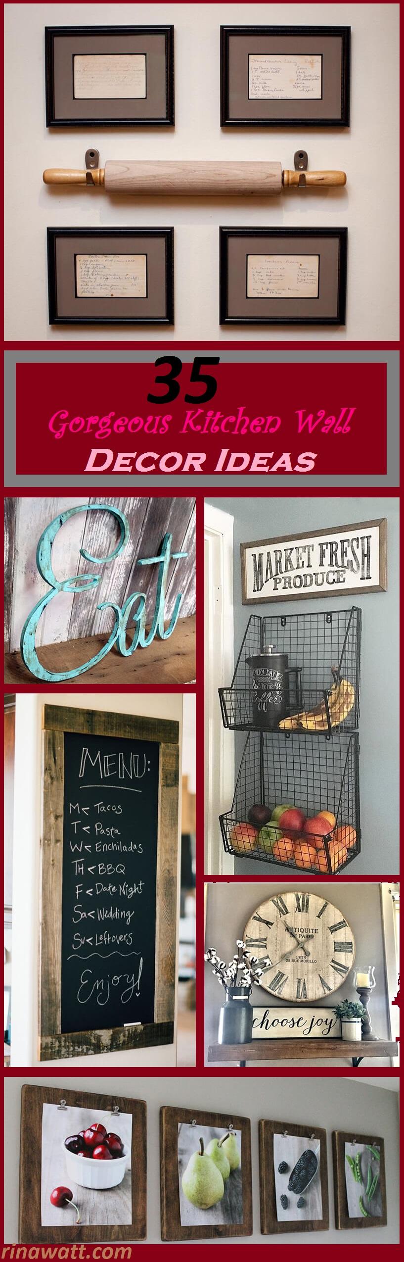 35 Pretty Kitchen Wall Decor Ideas To Stir Up Your Blank Walls Rina Watt Blogger Home Decor Diy And Recipes