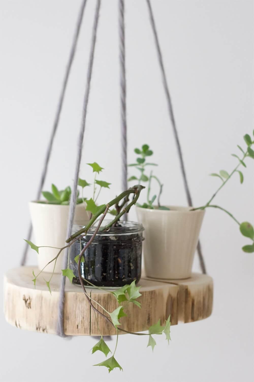 Creative Hanging Wooden Planter Shelf