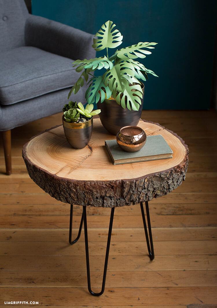 Mid-Century Rustic Wood Slice End Table