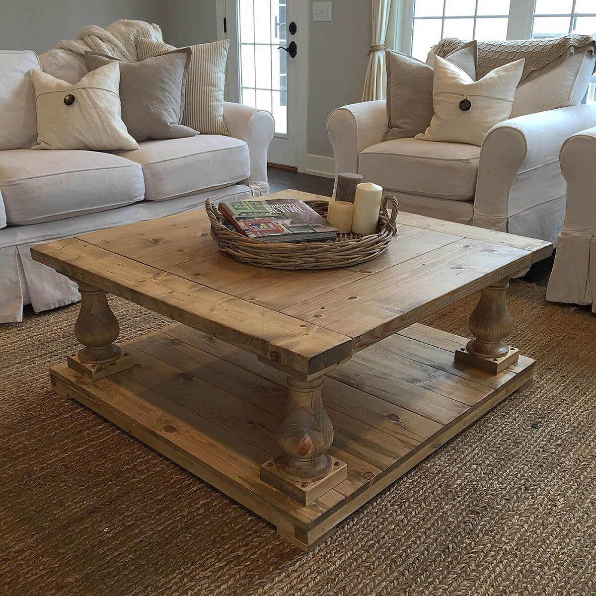 A Wide Plank Baluster Rustic Table