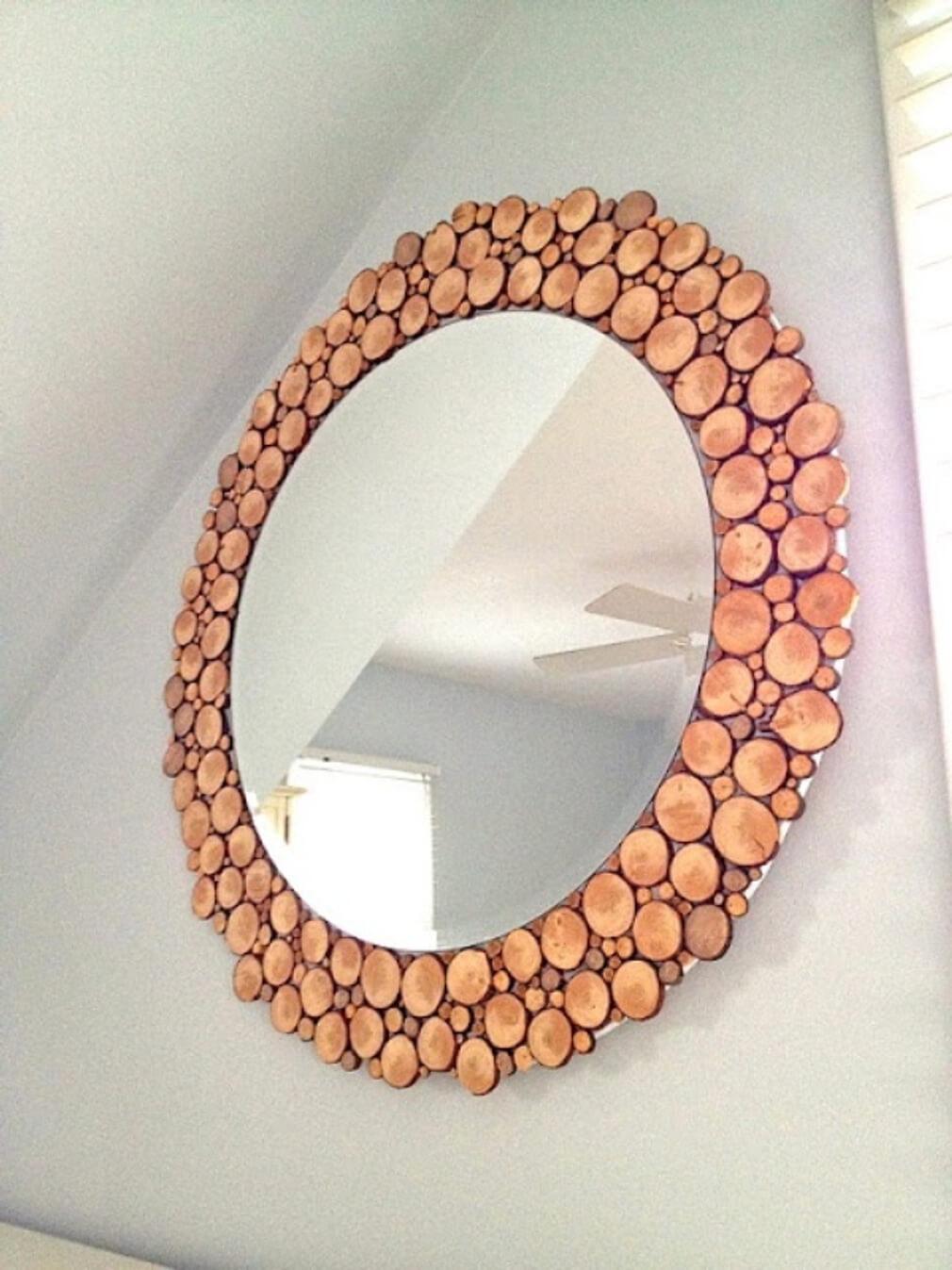 Budget-Friendly Wood Slice Wall Mirror