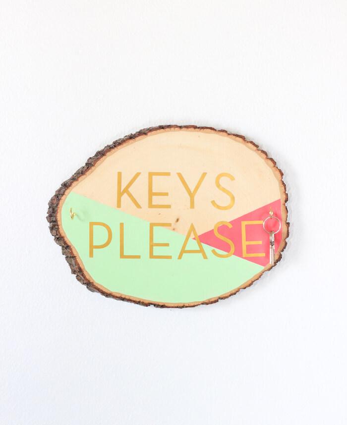 Beautifully Painted Wooden Slab Key Holder