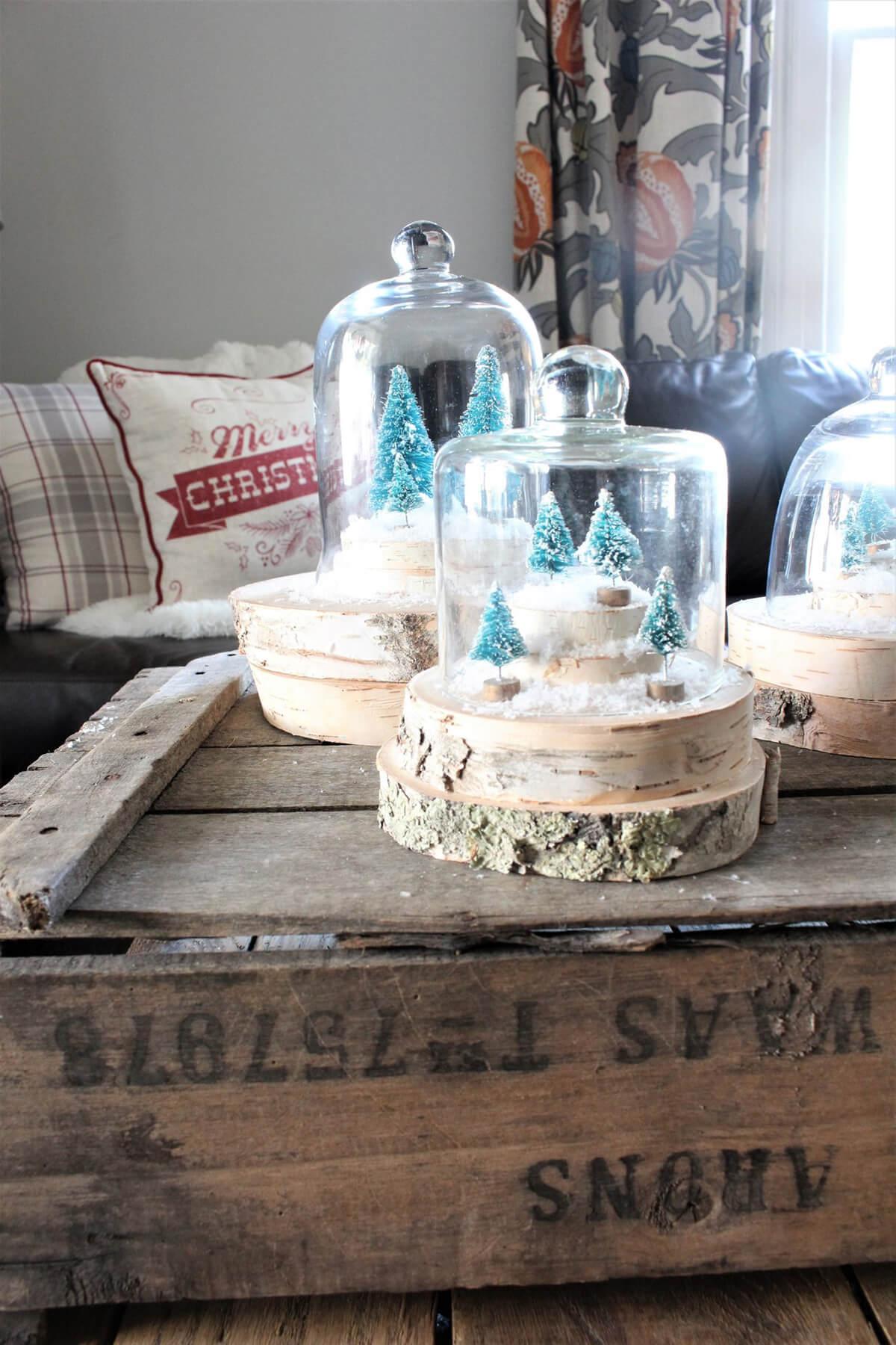 Holiday Sliced Wood Display Dome