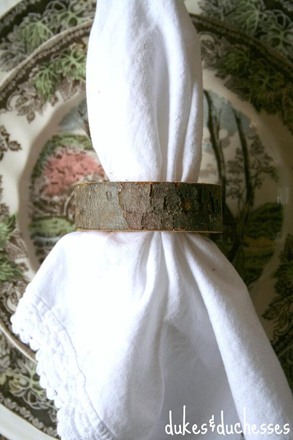 Simple, Rustic Wood Slice Napkin Rings