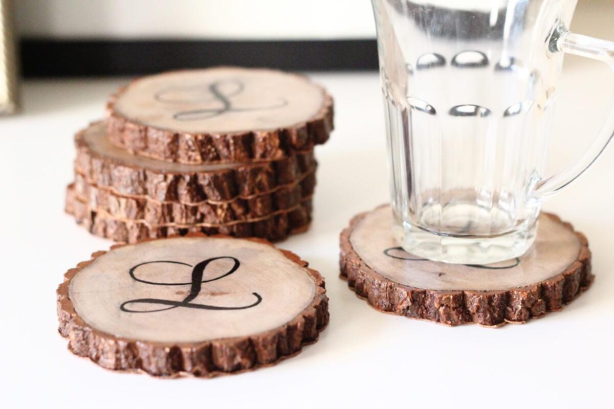 Monogrammed Stencil Wooden Sliced Coasters