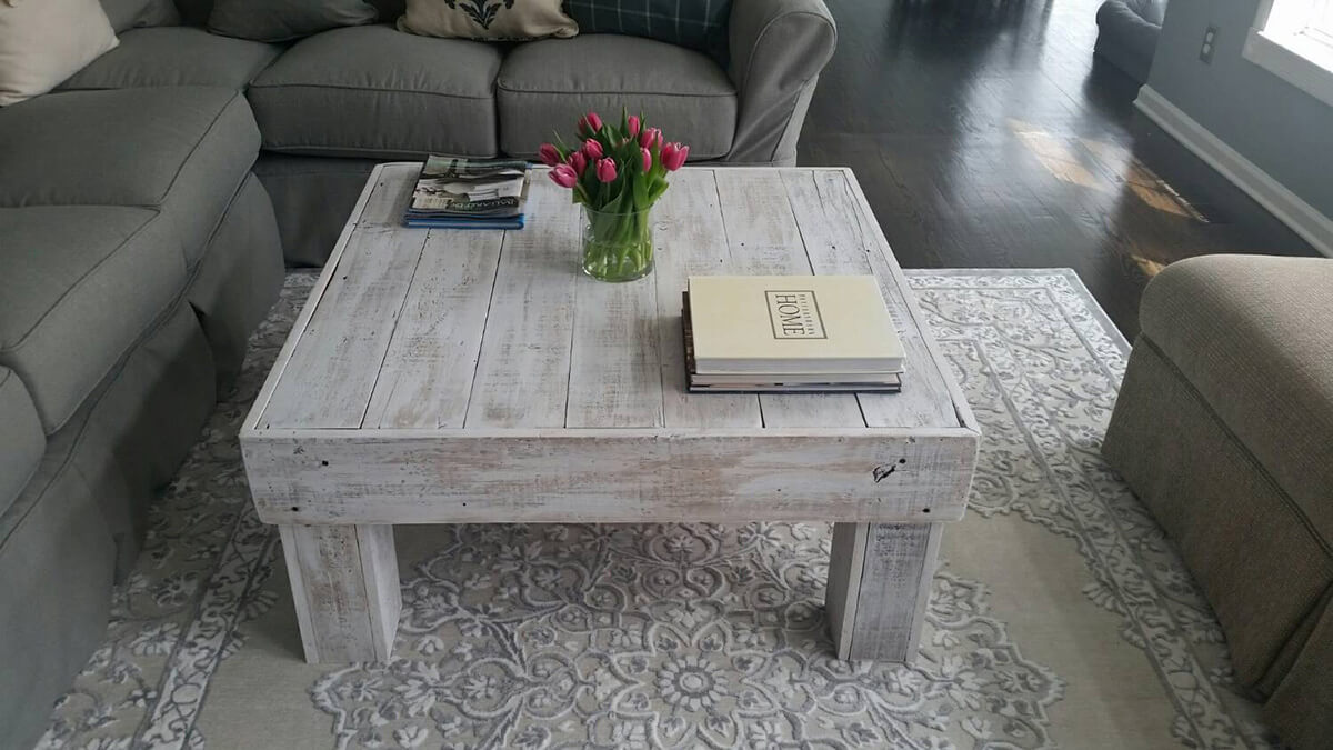 White Washed and Simple Cube Table
