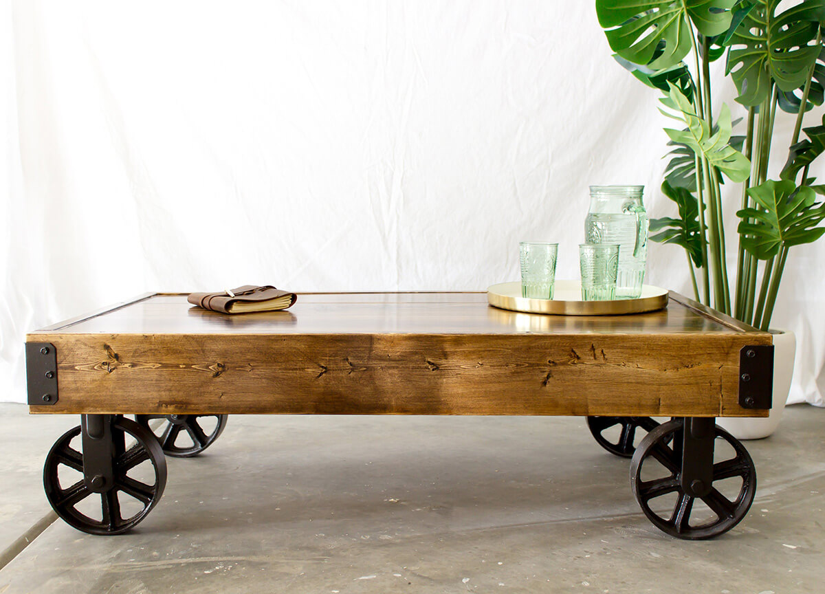 Distressed Railroad Cart of Yellow Pine