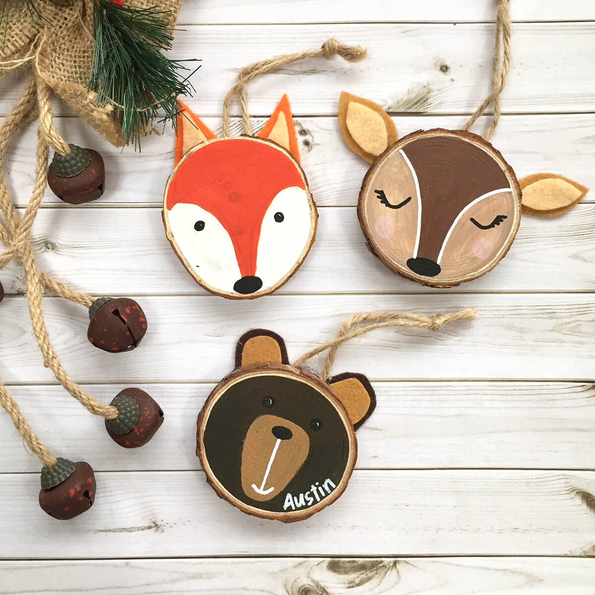 Hand-Painted Woodland Creature Ornaments