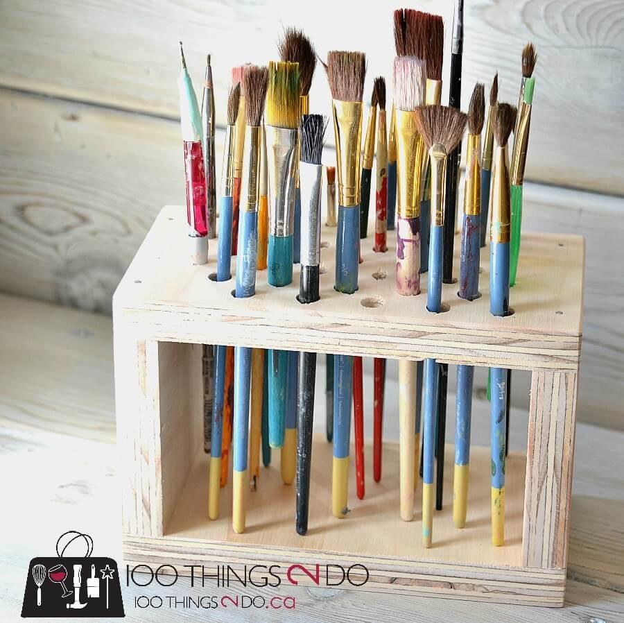 Hold That Paint Brush Wood Organizer
