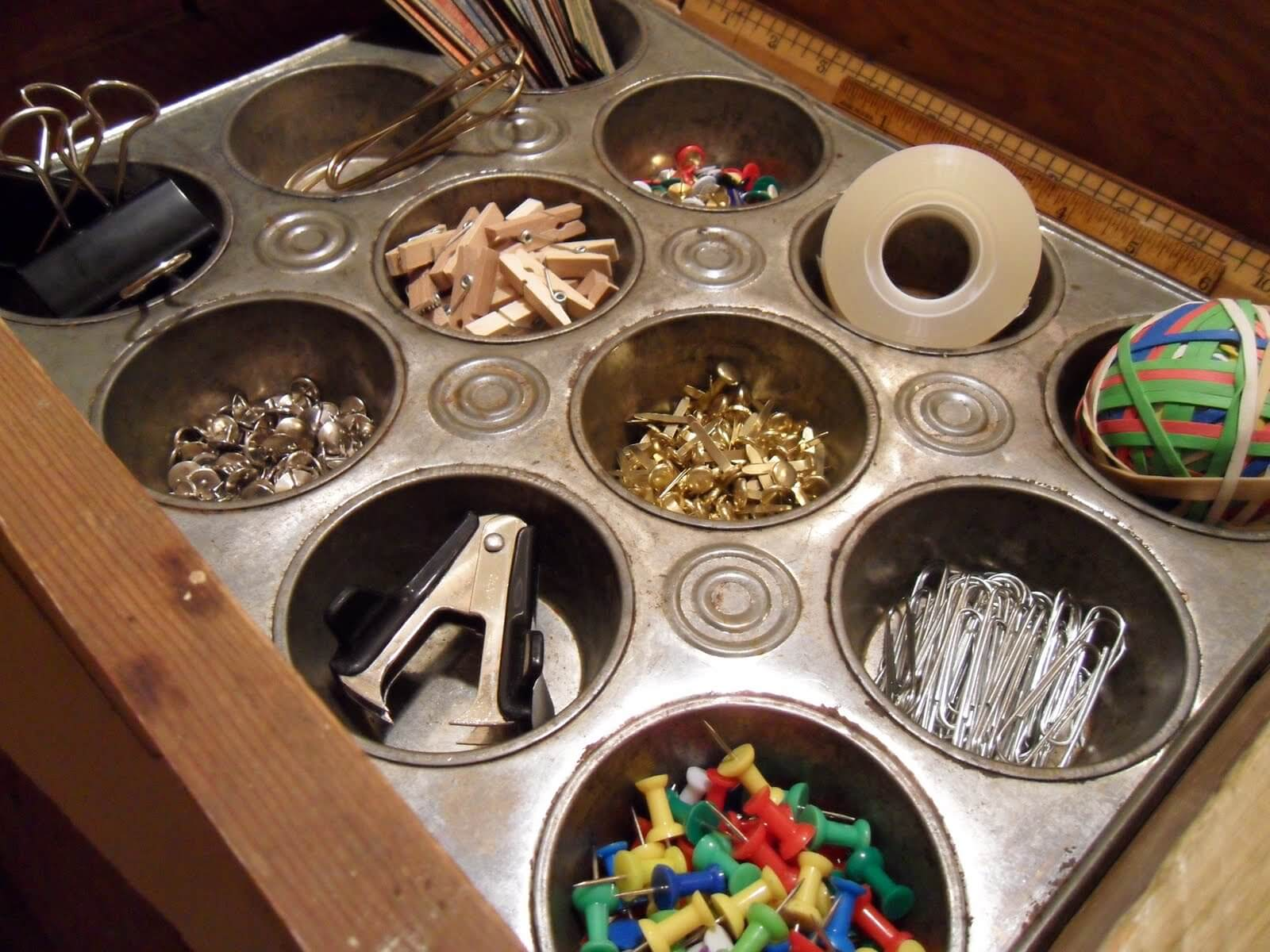 Repurposed Muffin Tin Craft Organizer