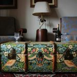 Vintage Wallpapered Steamer Trunk Turned Table