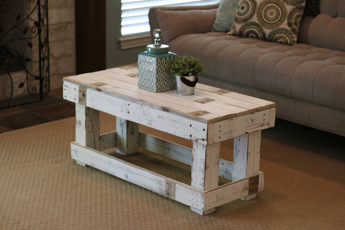 Off-White Wood and Antique Weathering Table