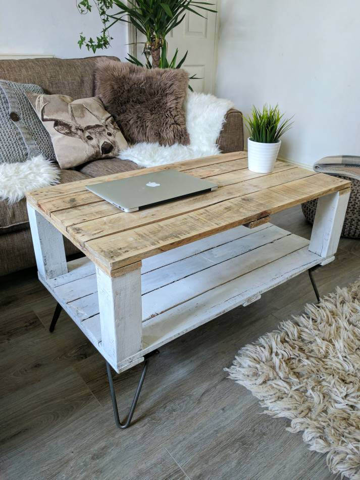 Gravity-Defying Table of Reclaimed, Distressed, Wood