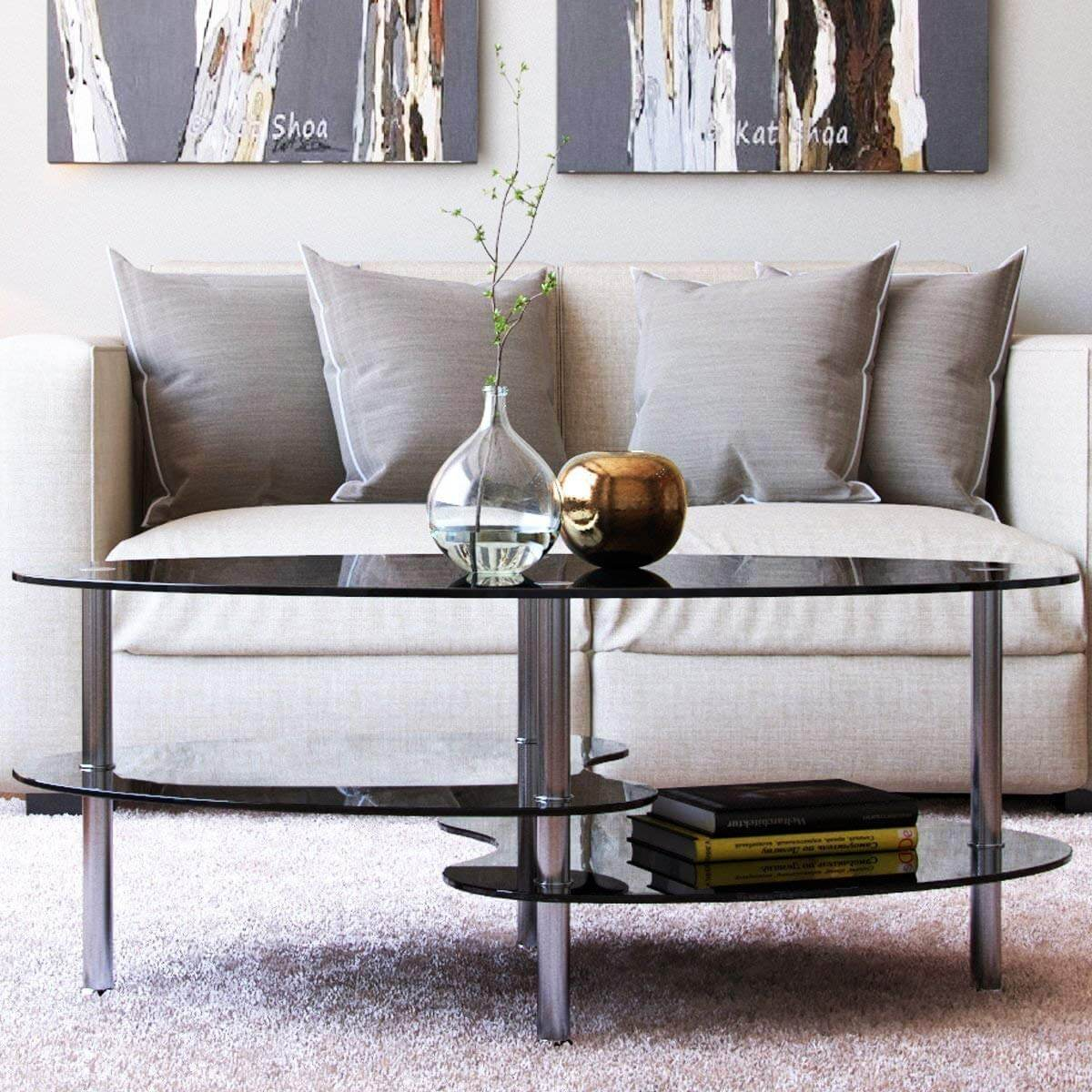 Space-Age Glass Table With Steel Legs