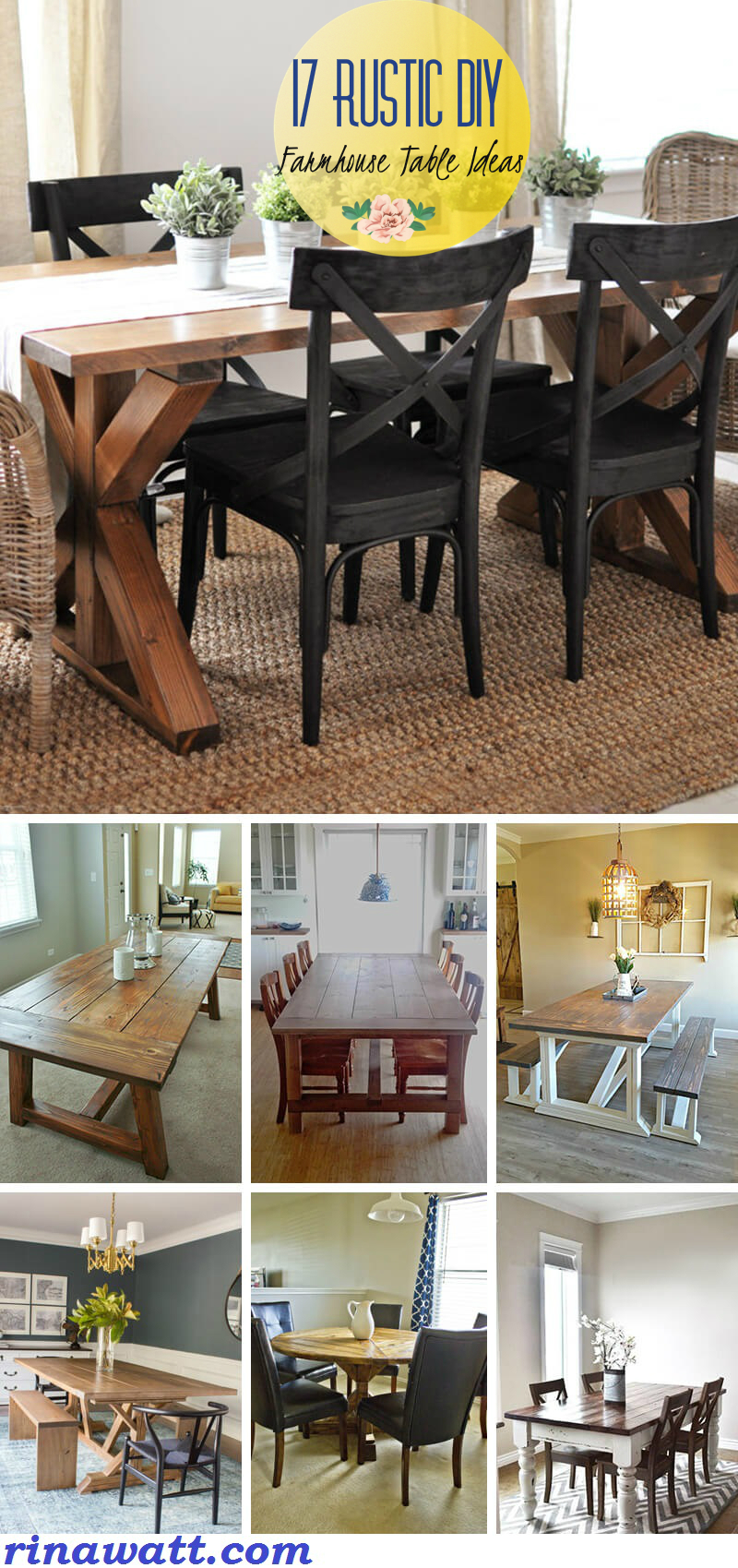 17 Rustic Diy Farmhouse Table Ideas To