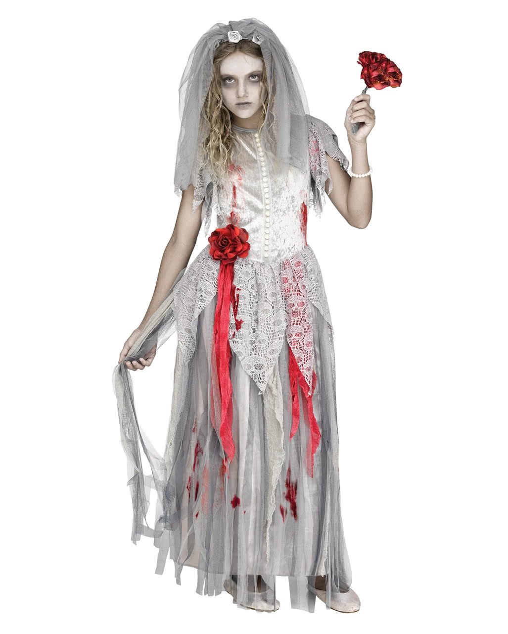 Zombie Bride Kids Costume Ghost Bride Fillets- for- Girls- Halloween- Bride Costumes