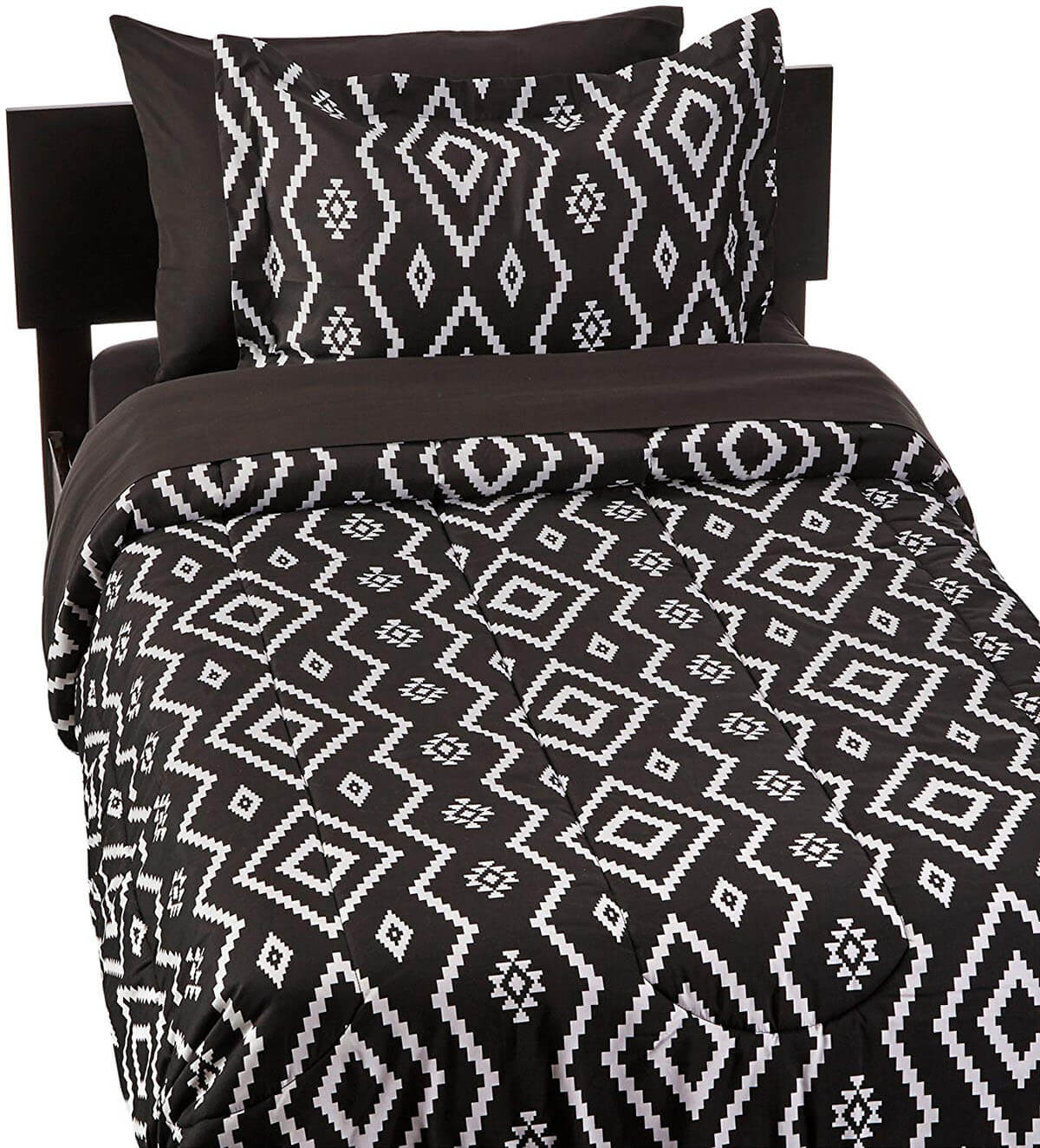 Navajo-Inspired Black and White Bedding
