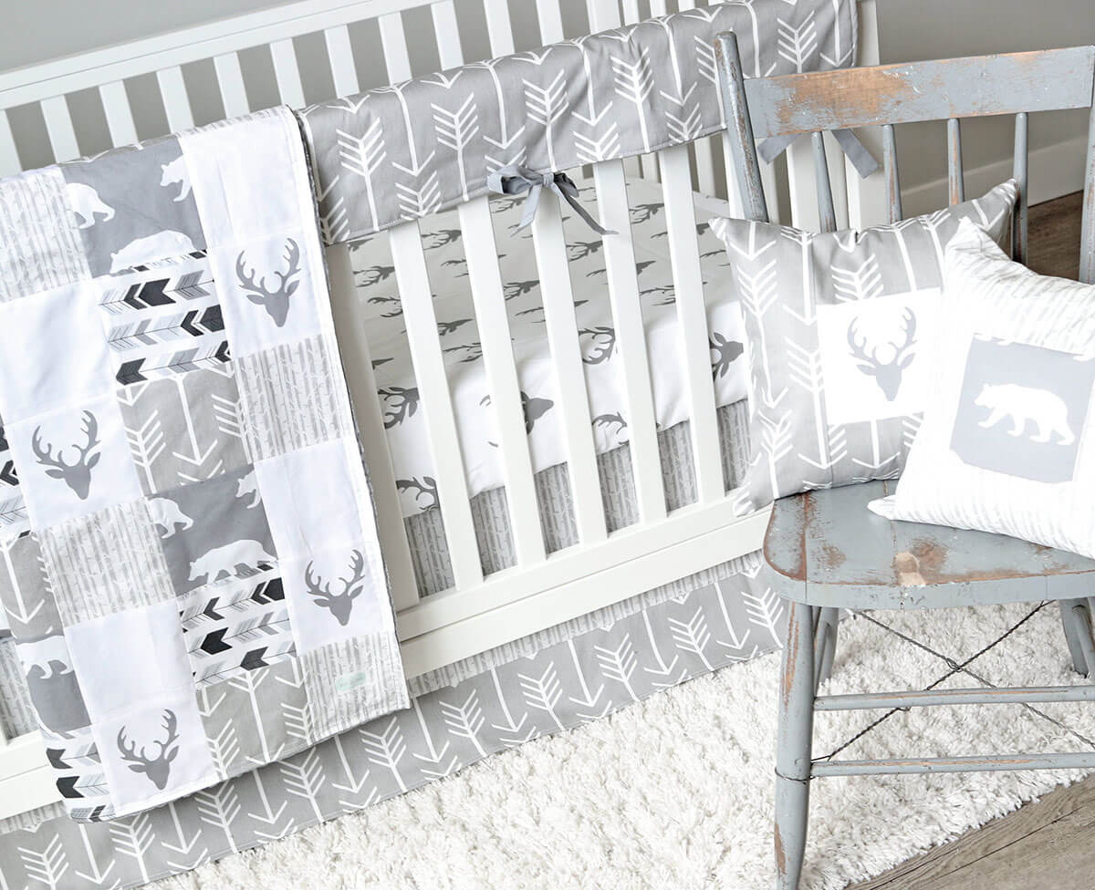 Adorable Gray Wildlife-Inspired Crib Set