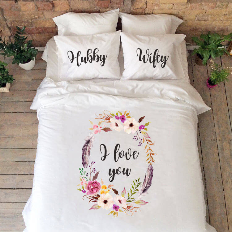 "Personalized ""I Love You"" Floral Bedding"
